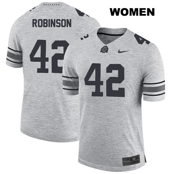 Bradley Robinson Womens Stitched Gray Nike Ohio State Buckeyes Authentic no. 42 College Football Jersey - Bradley Robinson Jersey