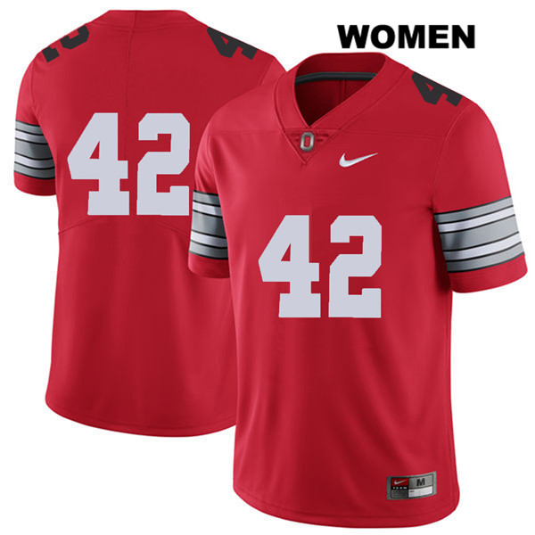 Bradley Robinson 2018 Spring Game Womens Stitched Red Nike Ohio State Buckeyes Authentic no. 42 College Football Jersey - Without Name - Bradley Robinson Jersey