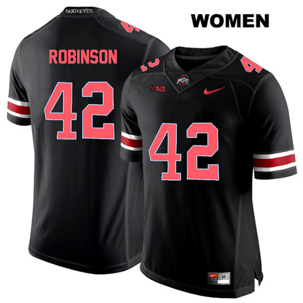 Bradley Robinson Nike Womens Black Ohio State Buckeyes Red Font Stitched Authentic no. 42 College Football Jersey - Bradley Robinson Jersey