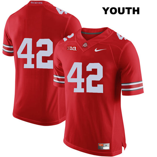 Bradley Robinson Nike Youth Red Stitched Ohio State Buckeyes Authentic no. 42 College Football Jersey - Without Name - Bradley Robinson Jersey