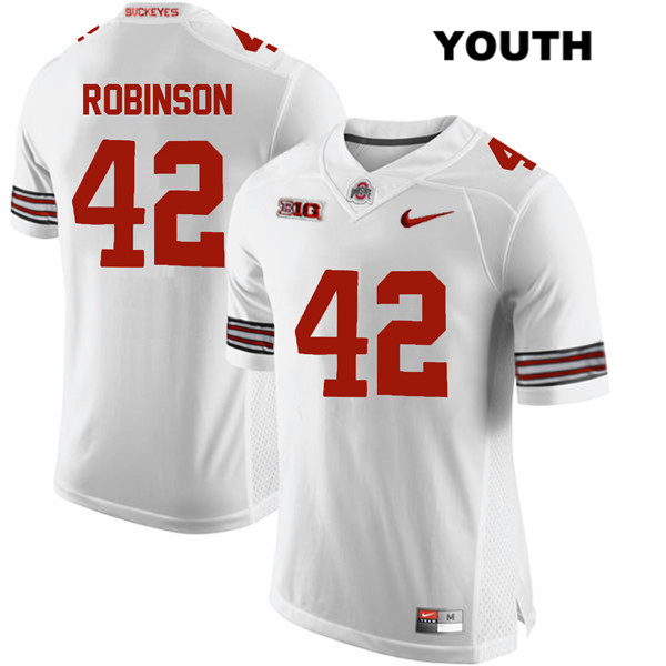 Bradley Robinson Youth White Ohio State Buckeyes Stitched Nike Authentic no. 42 College Football Jersey - Bradley Robinson Jersey