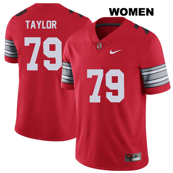 Brady Taylor Womens Nike Red 2018 Spring Game Ohio State Buckeyes Stitched Authentic no. 79 College Football Jersey - Brady Taylor Jersey