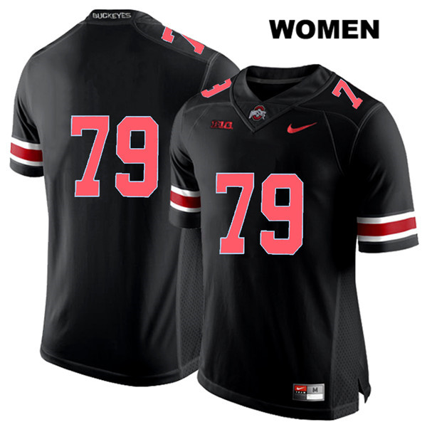Brady Taylor Stitched Womens Black Nike Ohio State Buckeyes Authentic Red Font no. 79 College Football Jersey - Without Name - Brady Taylor Black Jersey