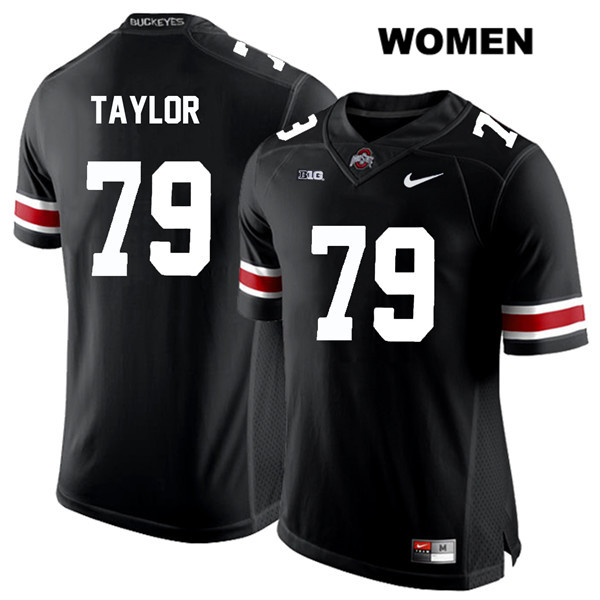 Stitched Brady Taylor Womens White Font Black Ohio State Buckeyes Authentic Nike no. 79 College Football Jersey - Brady Taylor Black Jersey