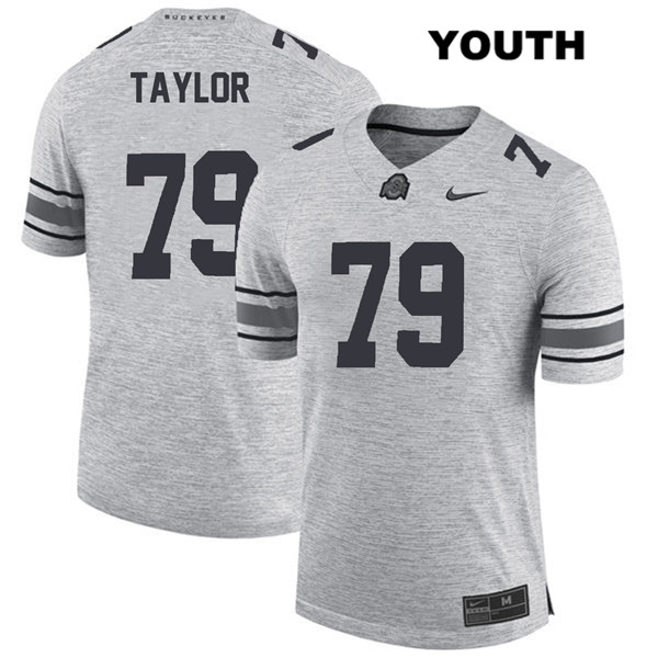 Brady Taylor Stitched Nike Youth Gray Ohio State Buckeyes Authentic no. 79 College Football Jersey - Brady Taylor Jersey