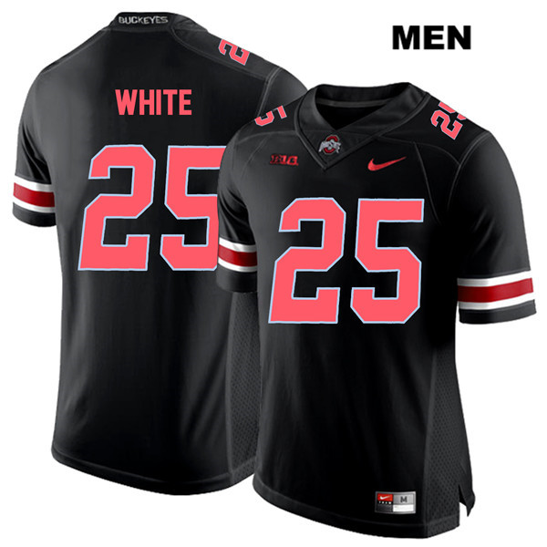 Brendon White Nike Mens Black Red Font Ohio State Buckeyes Authentic Stitched no. 25 College Football Jersey - Brendon White Jersey