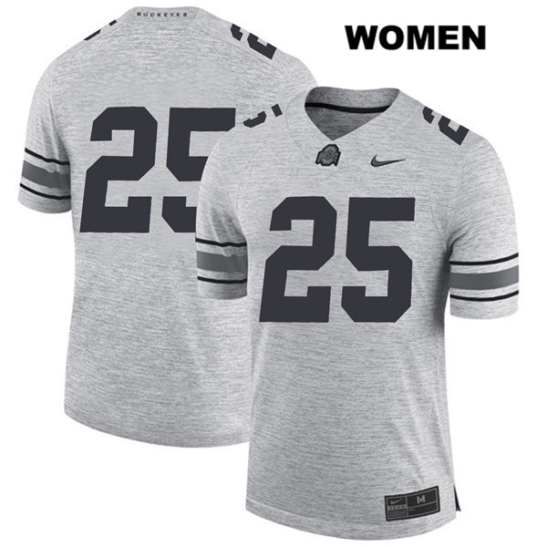 Brendon White Womens Gray Stitched Ohio State Buckeyes Authentic Nike no. 25 College Football Jersey - Without Name - Brendon White Jersey