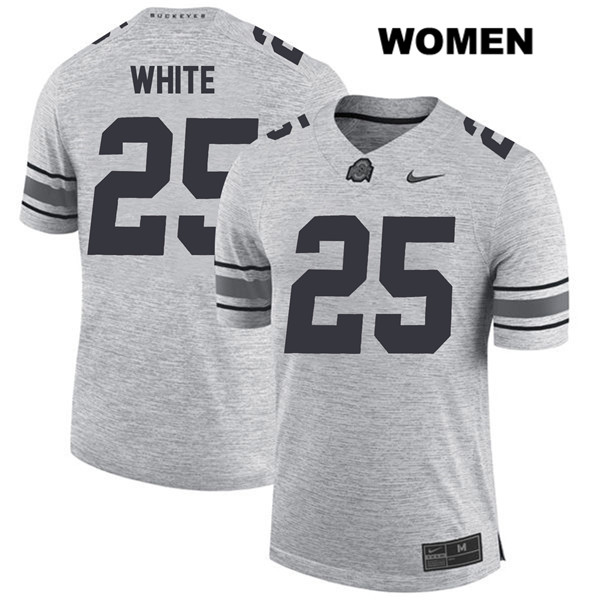 Brendon White Nike Womens Gray Ohio State Buckeyes Stitched Authentic no. 25 College Football Jersey - Brendon White Jersey