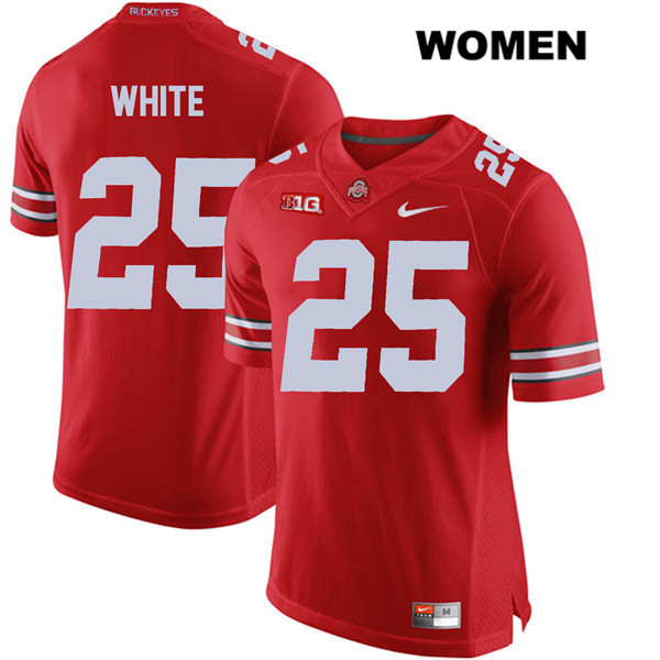Brendon White Womens Stitched Red Ohio State Buckeyes Authentic Nike no. 25 College Football Jersey - Brendon White Jersey