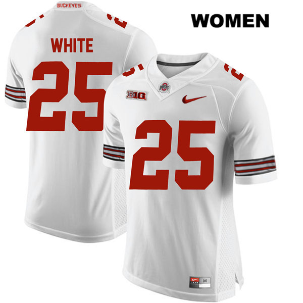 Brendon White Nike Womens White Ohio State Buckeyes Stitched Authentic no. 25 College Football Jersey - Brendon White Jersey
