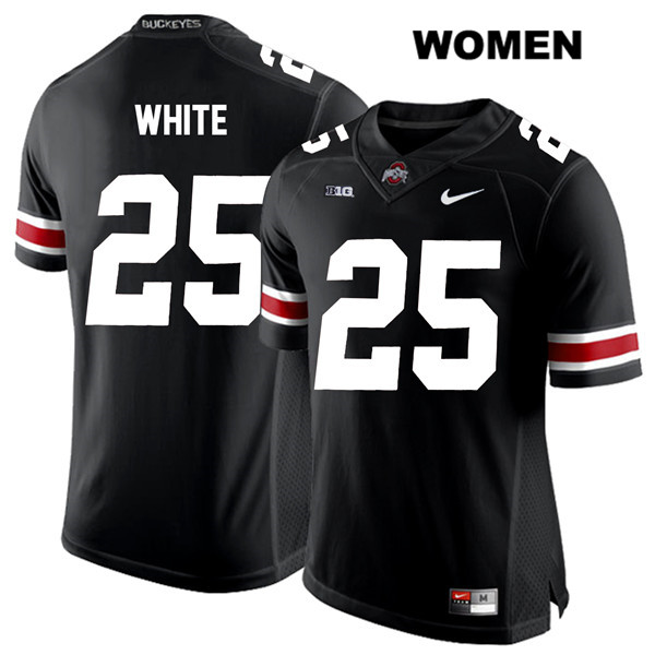 Brendon White Womens Nike Black Stitched Ohio State Buckeyes Authentic White Font no. 25 College Football Jersey - Brendon White Jersey