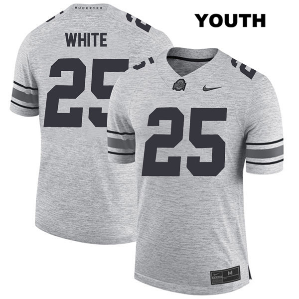 Brendon White Youth Gray Ohio State Buckeyes Stitched Authentic Nike no. 25 College Football Jersey - Brendon White Jersey