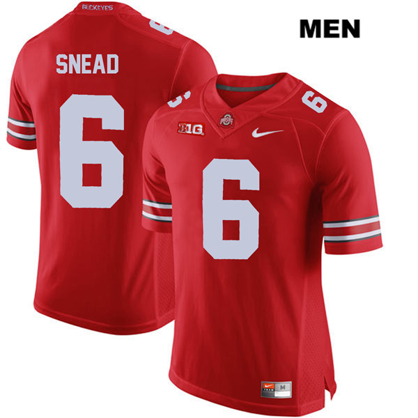 Brian Snead Mens Stitched Red Nike Ohio State Buckeyes Authentic no. 6 College Football Jersey - Brian Snead Jersey