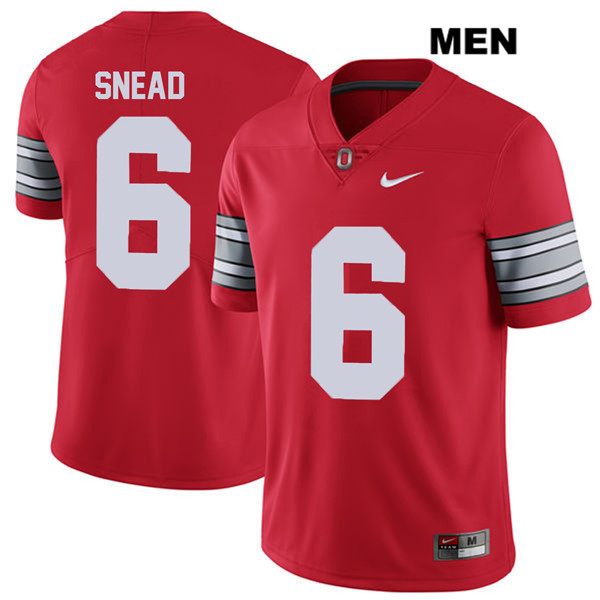 Brian Snead 2018 Spring Game Mens Red Ohio State Buckeyes Stitched Authentic Nike no. 6 College Football Jersey - Brian Snead Jersey