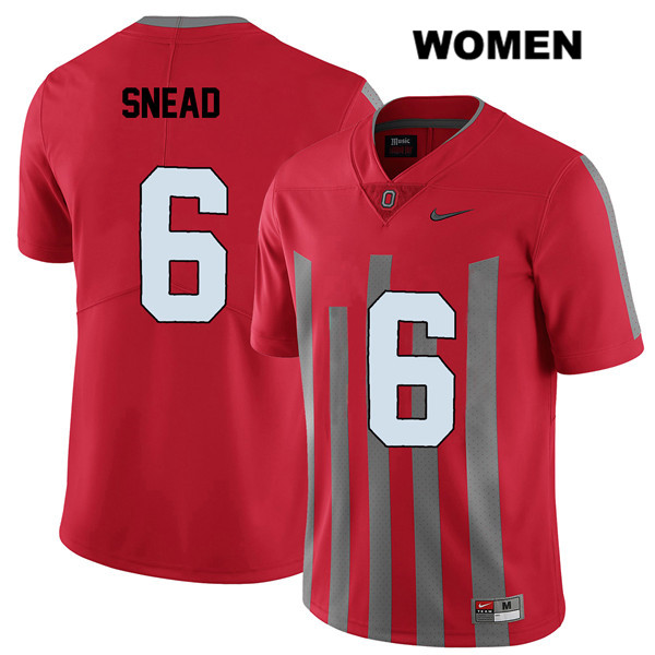 Brian Snead Stitched Womens Red Elite Ohio State Buckeyes Authentic Nike no. 6 College Football Jersey - Brian Snead Jersey