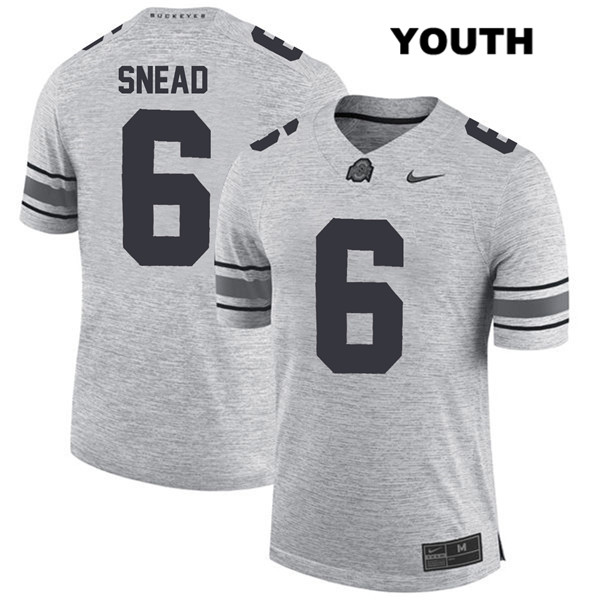 Brian Snead Youth Gray Nike Ohio State Buckeyes Stitched Authentic no. 6 College Football Jersey - Brian Snead Jersey