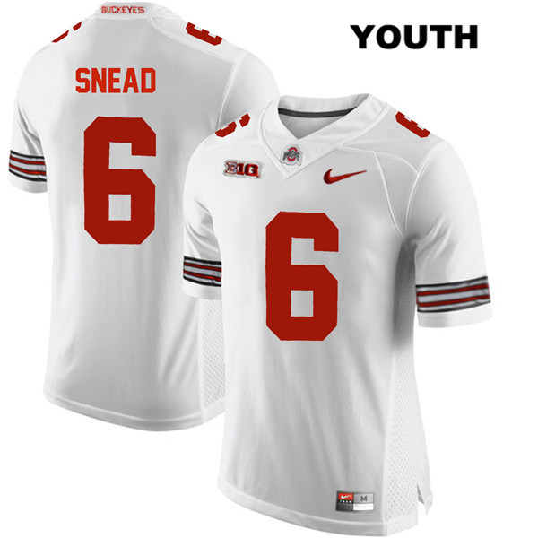 Brian Snead Youth White Ohio State Buckeyes Stitched Nike Authentic no. 6 College Football Jersey - Brian Snead Jersey