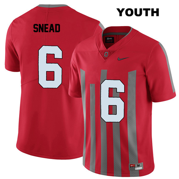 Brian Snead Stitched Youth Red Elite Ohio State Buckeyes Authentic Nike no. 6 College Football Jersey - Brian Snead Jersey