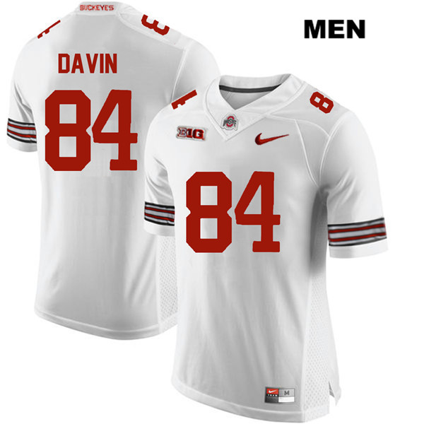 Brock Davin Mens Stitched Nike White Ohio State Buckeyes Authentic no. 84 College Football Jersey - Brock Davin Jersey