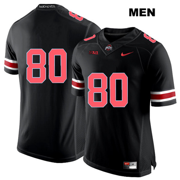 C.J. Saunders Mens Black Ohio State Buckeyes Red Font Authentic Stitched Nike no. 80 College Football Jersey - Without Name - C.J. Saunders Jersey