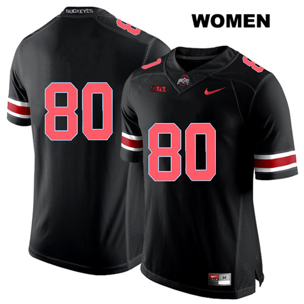 C.J. Saunders Womens Nike Black Ohio State Buckeyes Stitched Authentic Red Font no. 80 College Football Jersey - Without Name - C.J. Saunders Jersey