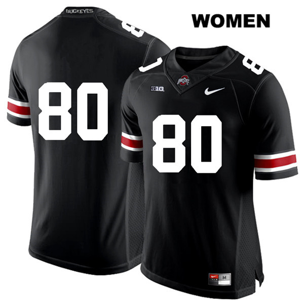 C.J. Saunders Nike Womens Black White Font Ohio State Buckeyes Authentic Stitched no. 80 College Football Jersey - Without Name - C.J. Saunders Jersey