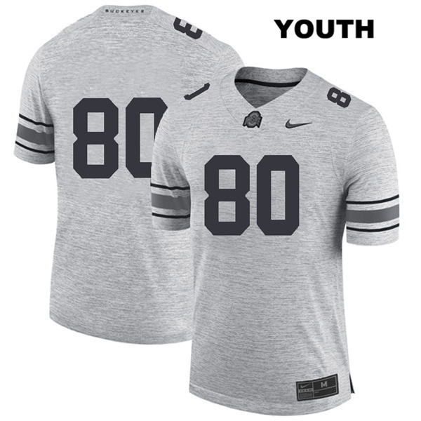 C.J. Saunders Youth Stitched Gray Ohio State Buckeyes Nike Authentic no. 80 College Football Jersey - Without Name - C.J. Saunders Jersey