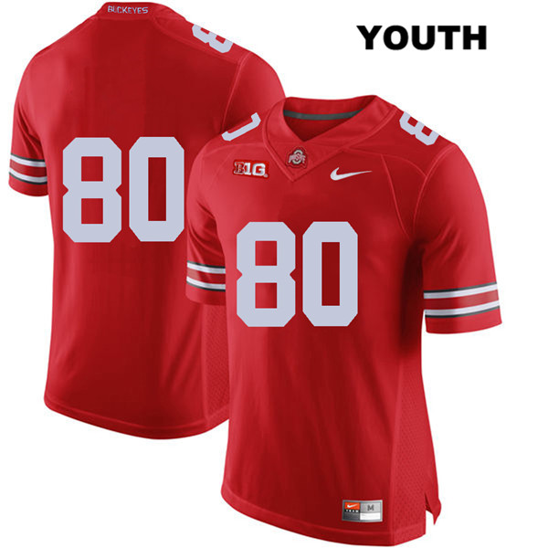 C.J. Saunders Nike Youth Red Ohio State Buckeyes Stitched Authentic no. 80 College Football Jersey - Without Name - C.J. Saunders Jersey