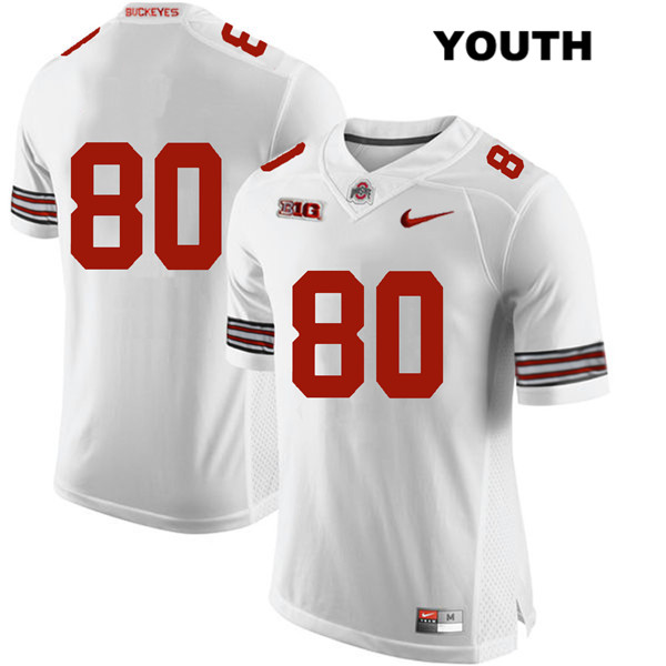 C.J. Saunders Youth White Ohio State Buckeyes Authentic Stitched Nike no. 80 College Football Jersey - Without Name - C.J. Saunders Jersey