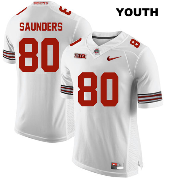 C.J. Saunders Nike Youth White Stitched Ohio State Buckeyes Authentic no. 80 College Football Jersey - C.J. Saunders Jersey
