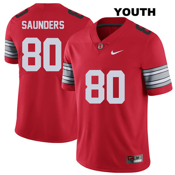 C.J. Saunders 2018 Spring Game Youth Red Stitched Nike Ohio State Buckeyes Authentic no. 80 College Football Jersey - C.J. Saunders Jersey