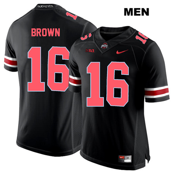 Cameron Brown Stitched Mens Nike Black Ohio State Buckeyes Red Font Authentic no. 16 College Football Jersey - Cameron Brown Jersey