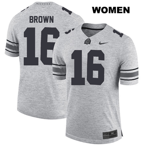 Cameron Brown Stitched Womens Gray Ohio State Buckeyes Authentic Nike no. 16 College Football Jersey - Cameron Brown Jersey