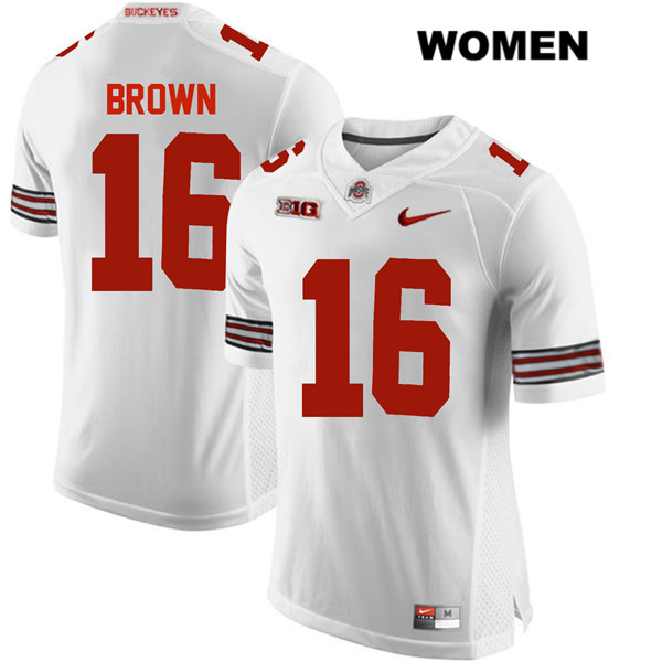 Cameron Brown Womens White Stitched Ohio State Buckeyes Authentic Nike no. 16 College Football Jersey - Cameron Brown Jersey