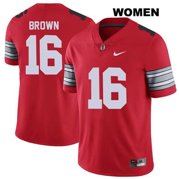 Cameron Brown Womens Red Stitched Ohio State Buckeyes Authentic 2018 Spring Game Nike no. 16 College Football Jersey - Cameron Brown Jersey
