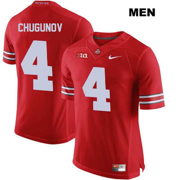 Chris Chugunov Nike Mens Red Ohio State Buckeyes Authentic Stitched no. 4 College Football Jersey - Chris Chugunov Jersey