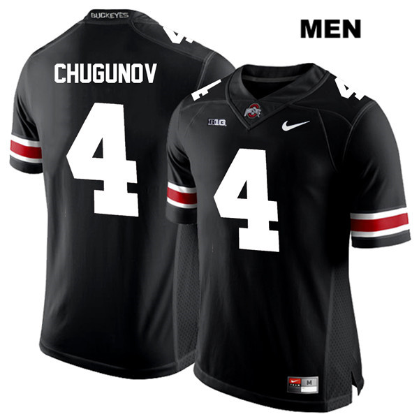 Chris Chugunov Mens Black Ohio State Buckeyes White Font Stitched Authentic Nike no. 4 College Football Jersey - Chris Chugunov Jersey