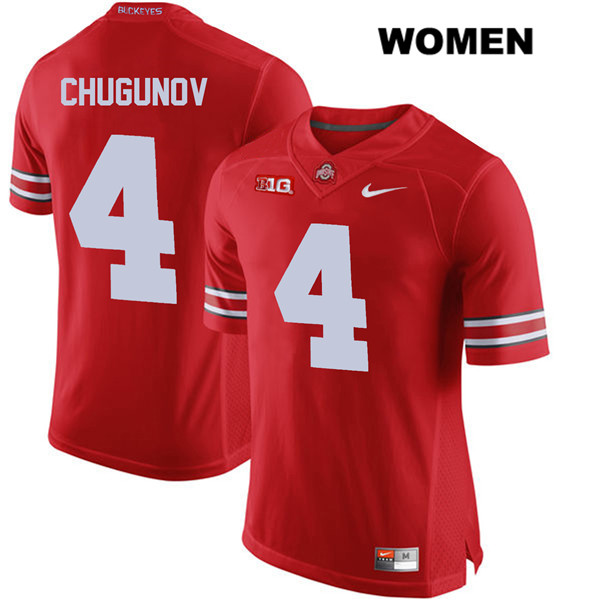 Chris Chugunov Womens Red Nike Ohio State Buckeyes Authentic Stitched no. 4 College Football Jersey - Chris Chugunov Jersey