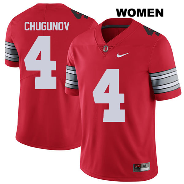 Nike Chris Chugunov 2018 Spring Game Womens Red Ohio State Buckeyes Stitched Authentic no. 4 College Football Jersey - Chris Chugunov Jersey