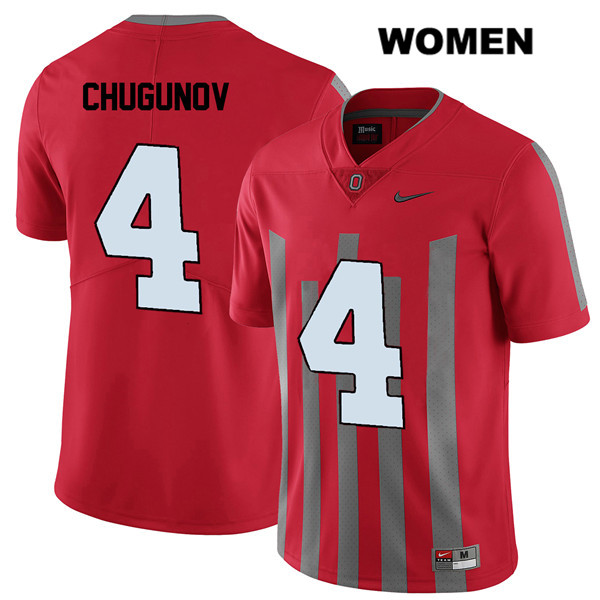Elite Chris Chugunov Womens Nike Red Ohio State Buckeyes Authentic Stitched no. 4 College Football Jersey - Chris Chugunov Jersey