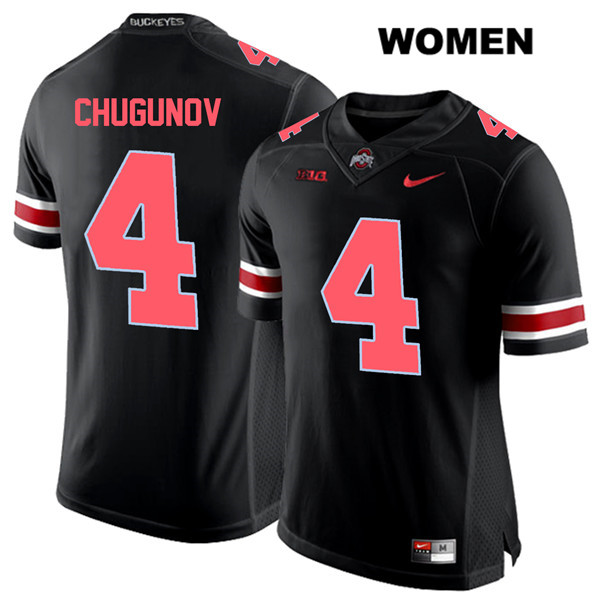 Chris Chugunov Nike Womens Red Font Black Stitched Ohio State Buckeyes Authentic no. 4 College Football Jersey - Chris Chugunov Jersey