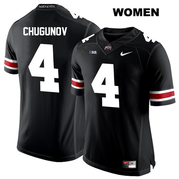 Chris Chugunov Womens White Font Black Nike Ohio State Buckeyes Authentic Stitched no. 4 College Football Jersey - Chris Chugunov Jersey