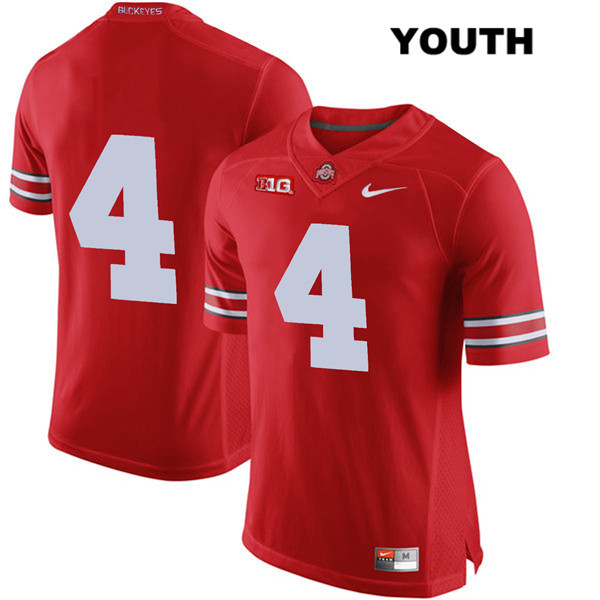 Chris Chugunov Youth Nike Red Ohio State Buckeyes Stitched Authentic no. 4 College Football Jersey - Without Name - Chris Chugunov Jersey