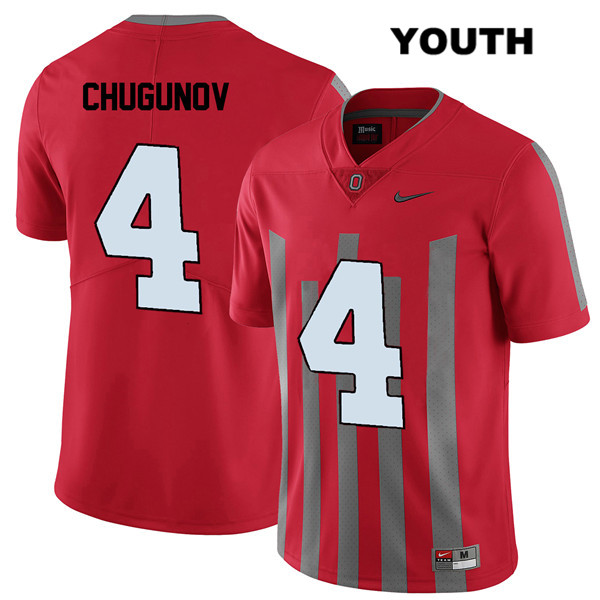 Nike Chris Chugunov Youth Red Elite Ohio State Buckeyes Authentic Stitched no. 4 College Football Jersey - Chris Chugunov Jersey