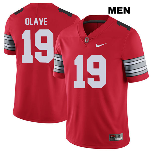 Chris Olave Nike 2018 Spring Game Mens Red Ohio State Buckeyes Authentic Stitched no. 19 College Football Jersey - Chris Olave Jersey