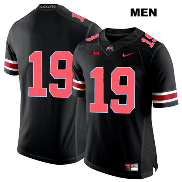 Chris Olave Nike Mens Black Red Font Ohio State Buckeyes Stitched Authentic no. 19 College Football Jersey - Without Name - Chris Olave Jersey