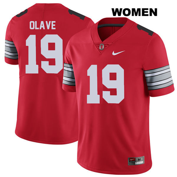 Chris Olave Nike Stitched Womens 2018 Spring Game Red Ohio State Buckeyes Authentic no. 19 College Football Jersey - Chris Olave Jersey