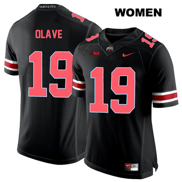Chris Olave Stitched Womens Red Font Black Ohio State Buckeyes Nike Authentic no. 19 College Football Jersey - Chris Olave Jersey