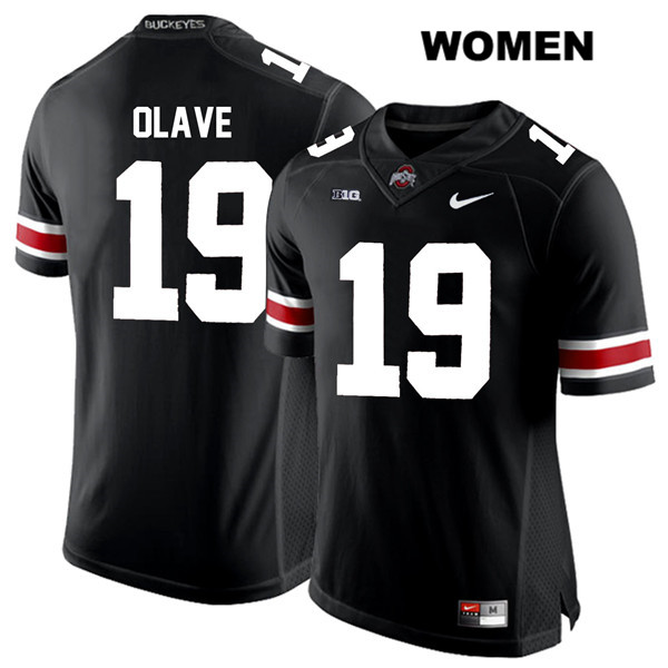Chris Olave White Font Womens Black Stitched Ohio State Buckeyes Authentic Nike no. 19 College Football Jersey - Chris Olave Jersey