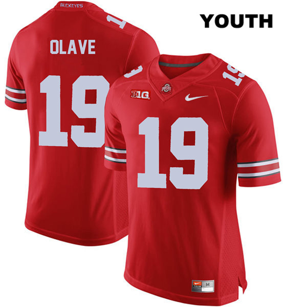 Chris Olave Stitched Youth Red Ohio State Buckeyes Authentic Nike no. 19 College Football Jersey